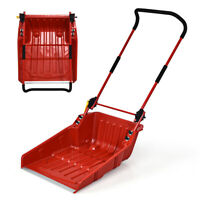 Folding Snow Pusher Scoop Shovel w/ Wheels & Adjustable Handle Snow Removal Use