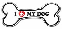 I Love My Dog Paw Red Heart Bone Pet bumper sticker decal white premium vinyl