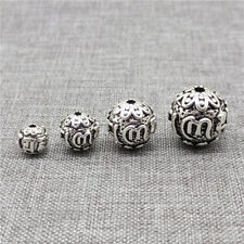 925 Sterling Silver Om mani padme hum Round Ball Beads for Bracelet Necklace