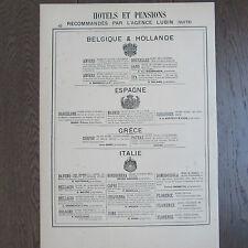 PUBLICITE ANCIENNE 1898 HOTELS RECOMMANDES PAR AGENCE LUBIN BELGIQUE ET HOLLANDE