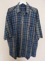 Nautica Men's Shirt Blue Check Work Office Casual Short Sleeve XL