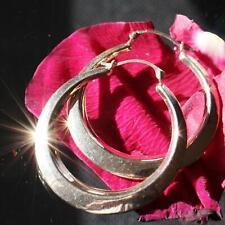 """10k yellow gold large 1.25"""" hoop earrings vintage handmade 1.5gr"""