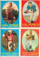 1958 Topps Football Cards, LOT OF 4, Heinrich, Lewis, Putnam, and Cothren VG+/EX