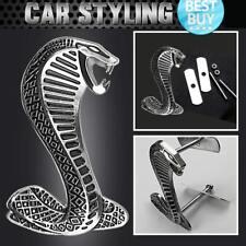 3D Metal Chrome Silver Cobra Super Snake Front Hood Grille Grill Badge Emblem