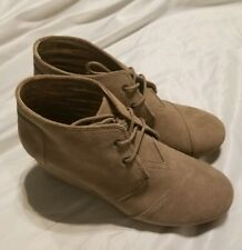 Tom's Desert Ankle Wedge Boots Beige Size 12 NWOB
