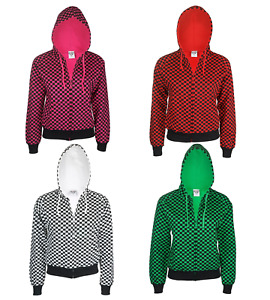 LADIES/GIRLY CHEQUERED BIKER HOODY, RED/GREEN/BLACK/ WHITE PUNK, GOTH PARTY TOP