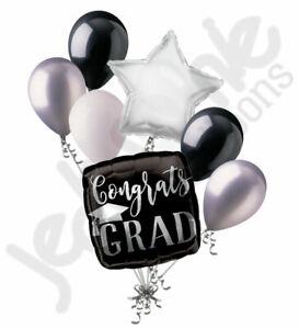 7 pc Congrats Grad Silver & Black Balloon Bouquet Graduation Congratulations