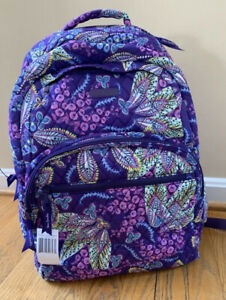 VERA BRADLEY Essential Large Backpack Batik Leaves Floral Padded Laptop NWT
