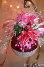 Shabby Cottage Christmas Ornaments Pink Ball Embellished Bling Silver Glitter