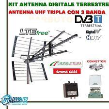KIT ANTENNA TV EMMEESSE ALTO GUADAGNO ITALIANA + AMPLIFICATORE+ ALIMENTATORE