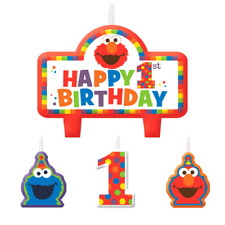 Sesame Street Elmo 1st First Birthday Party Cake Candles (4) Cookie Monster