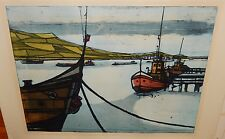 """H.BEHNES """"AT ANCHOR"""" LIMITED EDITION HAND SIGNED COLOR SEASCAPE ETCHING"""