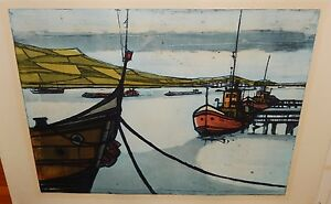 "H.BEHNES ""AT ANCHOR"" LIMITED EDITION HAND SIGNED COLOR SEASCAPE ETCHING"