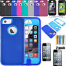 For iPhone 5C 5 5s se Shockproof Case Cover With Tempered Glass Screen Protector