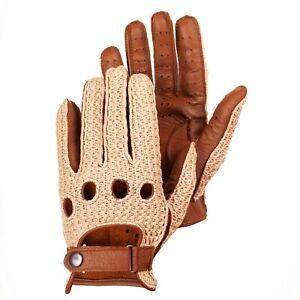 Men's Crochet Driving Leather Gloves Camel Brown