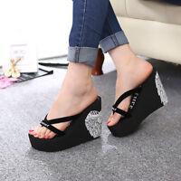 Women wedge high heel platform beach sandals flip flops shoes summer slippers
