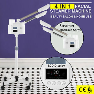 Professional 4in1 Facial Steamer W/Hot+Cold Mist LCD Ozone Skin Care Beauty Spa