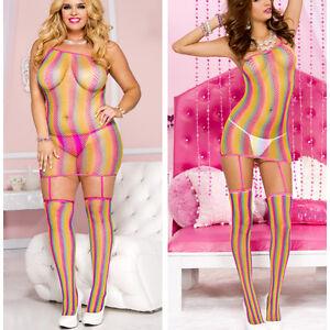 Tank Top Rainbow Stripe Diamond Fishnet Mini Dress Garter Thigh Hi Stockings XL
