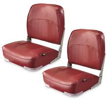 (2) Folding Marine Boat Seat Low-Back Pontoon Boating Bass Fishing Foldable, Red