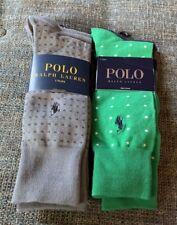 Nwt Polo Ralph Lauren Sock 3 Pack Gray 2 Pack Green/Blue D16
