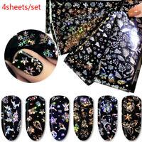4x décorations de noël ongles mélanger le transfert de couleur ongle feuillWLTR