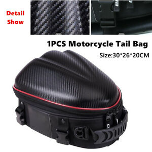 1PC Motorcycle Carbon Fibre PU Travel Rider Rear Tail Bags Hard Shell Helmet Bag