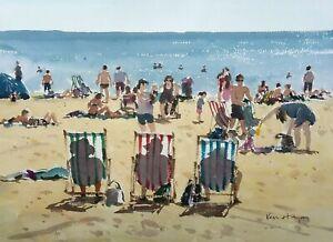 696 Busy Beach - Beach Watercolour Painting Ken Hayes