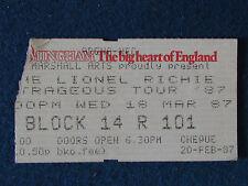 Lionel Richie - Concert Tour Ticket - 18/3/87 - Birmingham