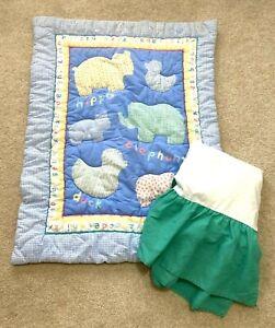 Zoo Jungle Crib Comforter Elephant Duck Hippo Dust Ruffle USA Blue Sprockets