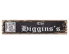 SPFN0365 The HIGGINS'S Family Name Street Chic Sign Home Decor Gift Ideas