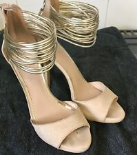 Lipsy Ava Open Toe Strappy Evening Shoes -  Nude/Gold - Size 4