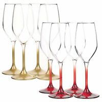Set Of 4 Bormioli Rocco Coloured Stem Wine Glasses Champagne Flute Glass Wedding