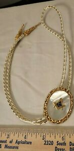Vintage Jewelry Shriners Bolo Tie Mother of Pearl Gold Accents Masonic