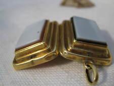 HEAVY Victorian 14K Yellow Gold TWO SIDED LOCKET w/ SARDONYX in Brown & Black