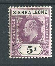 Sierra Leone KEVII 1905 5d dull purple & black SG93 LMM