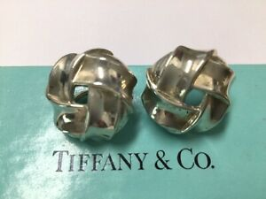 TIFFANY & CO STERLING SILVER EARRINGS WOVEN LOVE KNOTS CLIP ON WITH BOX
