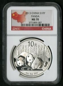 China Coin 2013 10 Yuan Silver Panda NGC MS70 NO RESERVE!