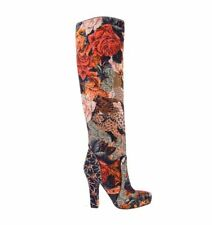 Zip Knee High Boots Floral Shoes for Women