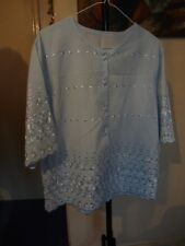 Blouse, Top, Beautiful UK 16 light blue embroidered