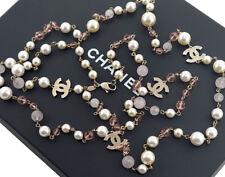 CHANEL CC Logos Pearl Necklace Rhinestone 59 inch long 08C w/BOX #2462