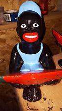 black Americana lawn jockey watermelon boy light blue