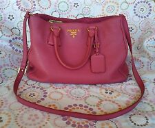 Prada Tote Bag Purse Cross Body Vitello Daino Leather Peony Dust Bag Cards