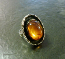Silberring Bernstein Cabochon 925er Silber Ring Gr. 55 CNP Claus Klinkenheil
