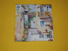 5 Servietten Toskana Treppe Balkon Blumen  Serviettentechnik 1/4 Stuhl Tisch