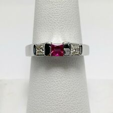 Magical Natural Pink Sapphire Diamond 14k White Gold Ring (6666)