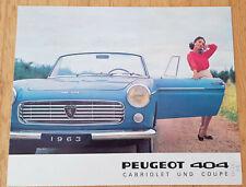 Peugeot 404 Coupé Cabriolet - Prospekt Brochure Modelljahr 1963 (deutsch)
