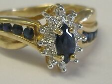 10 k SOLID GOLD SAPPHIRE DIAMOND RING SIZE 5,75