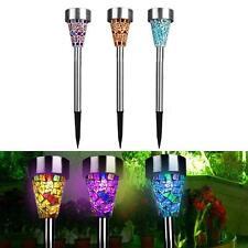 Solar Mosaic Garden Light LED Lamp 3PCS Stainless Steel Spot Light Outdoor Lawn