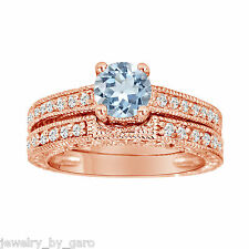 1.14 CARAT BLUE AQUAMARINE ENGAGEMENT RING SET WEDDING SETS 14K ROSE GOLD