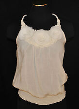 Romantic CHIC Ivory Floral Rope Racerback Straps Tank Cami Shirt Top Blouse S